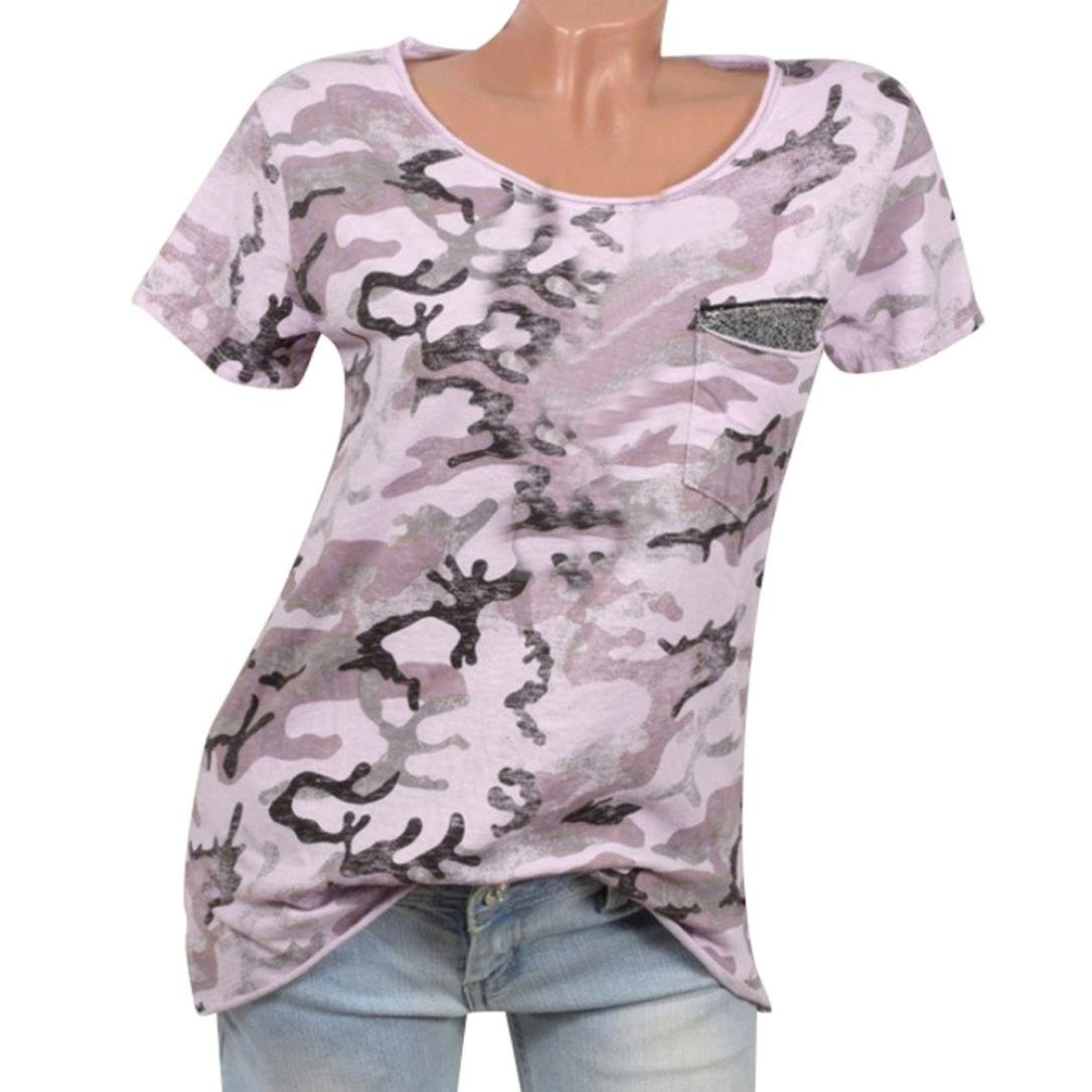 Misaky Women Summer Short Sleeve O Neck Pocket Loose Blouse Top T-Camouflage Hunting Shirts Misaky1227
