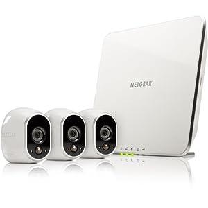 Arlo NETGEAR - Smart Caméra VMS3330-100EUS, Kit de Surveillance 100% sans Fil , 3 Caméras HD Incluses, Vision Nocturne, Etanches Intérieur/Extérieur, Fixations Aimantées Fournies