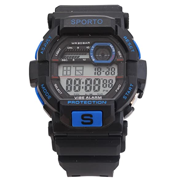 Los hombres s o niños Sporto diseño deportivo negro Turquesa Reloj Digital correa plástico reloj estilo