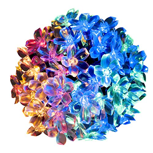 WishWorld Solar String Lights, 21ft 50LEDs Waterproof Fairy Blossom Flower Lights for Garden, Outdoor and Holiday Decorations(Multi Color (Outside Decorating Ideas)