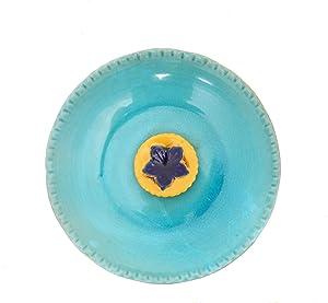 DUSVALLY Vintage Birdbath Ceramic Bird Bath Bowl Decor for Bird Bee Bath for Outdoor Patio Garden Backyard Yard,Blue with Yellow Flower