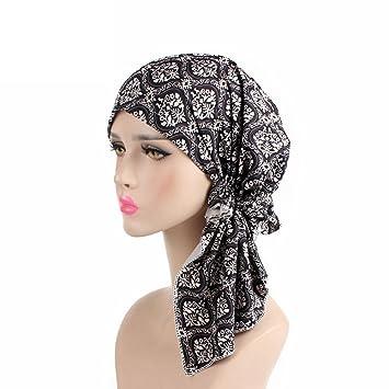 687610a89bc Amazon.com  Wcysin Floral Turbans Cap Chemo Caps Long Ties Satin ...