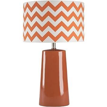 Diva At Home 24 Pumpkin Orange Ceramic Table Lamp With Orange And