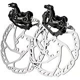 RUJOI Bike Disc Brake Kit, Aluminum Front and Rear Caliper, 160mm Rotor, Mechanic Tool-Free Pad Adjuster for Road Bike, Mount