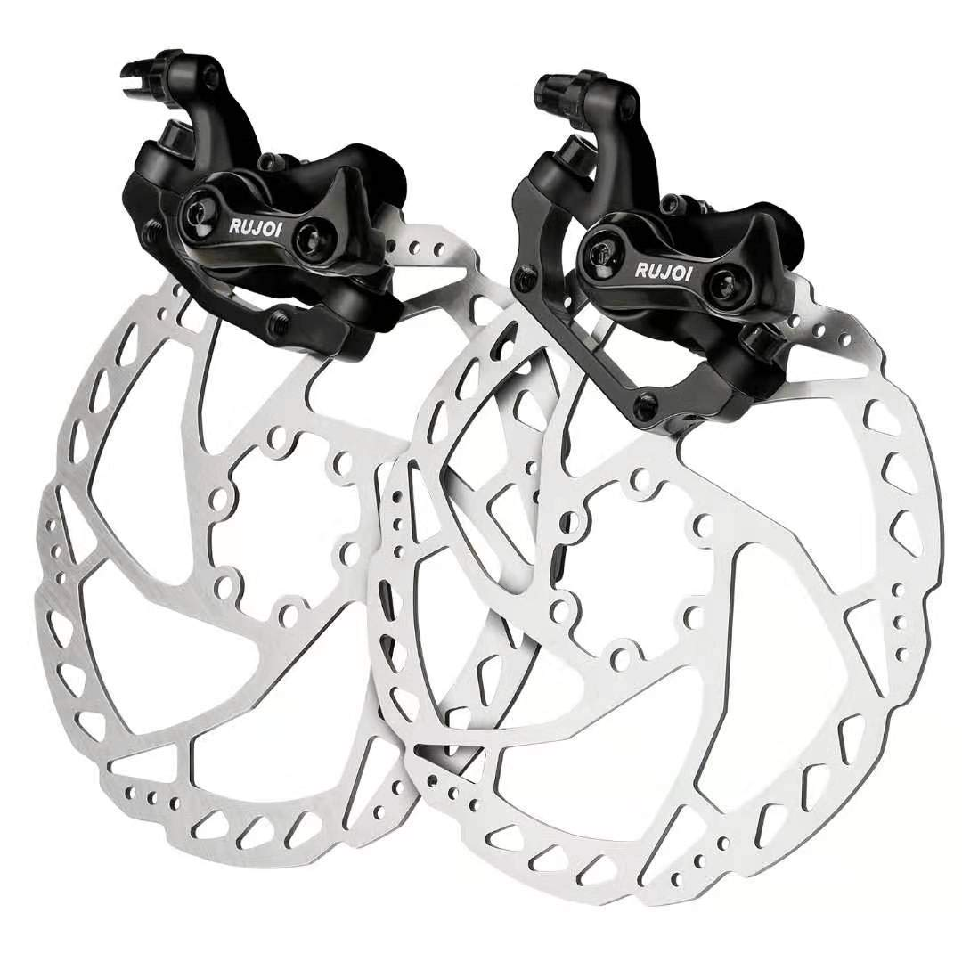 RUJOI Bike Disc Brake Kit, Aluminum Front and Rear Caliper, 160mm Rotor, Mechanic Tool-Free Pad Adjuster for Road Bike, Mountain Bike Black (2 Sets) by RUJOI