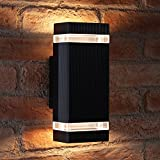 Auraglow Indoor/Outdoor Double Up & Down Wall Light - Black - Warm White LED Bulbs Include