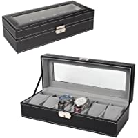 NEX 6 Slot Leather Watch Box Display Case Jewelry Organizer