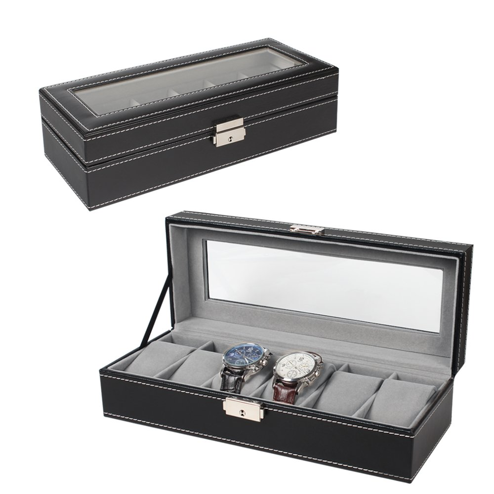 6 Slot Leather Watch Box Display Case Organizer Glass Jewelry Storage Black by NEX
