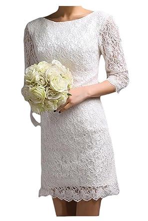 Gorgeous Bride Elegant Kurz Rundkrage Etui Spitze Brautkleider ...