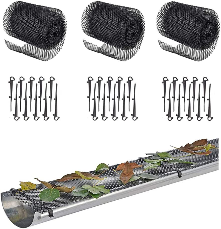 Roof Gutter Guard Mesh Plastic - Pack 3 Gutter Cover Guard Mesh Protector with 30 Clip Hooks Easy Install High Resist Roll Mesh to Protect from Leaves or Debris Clogging Gutter,Downspout,and Drain…