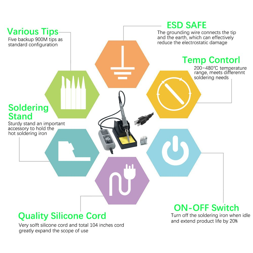 Sywon 60w Esd Soldering Iron Station Kit With On Off Switch Schematic Diagram Get Free Image About Wiring Temperature Adjustable Large Stand Holder 5 Extra Tips And 104 Inch Power Cord