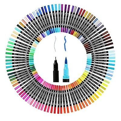 100 Colors Dual Tip Brush Pen Drawing Painting Watercolor Art Marker Pens School Supplies 12/18/24/36/48/72/100PCS
