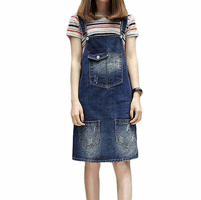 Discover detailed look best quality Elwow Women Lady's Girls Adjustable Straps Plus Size Denim Skirt Stretch  Dungarees Dress Pinafore with Big Pocket