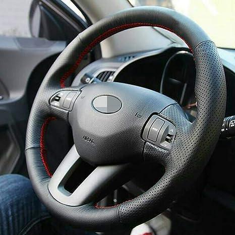 KAIQMLYA Coprivolante in pelle PU a forma di D per Kia Picanto x-line 2018 treccia resistente allusura nel design del volante dellauto