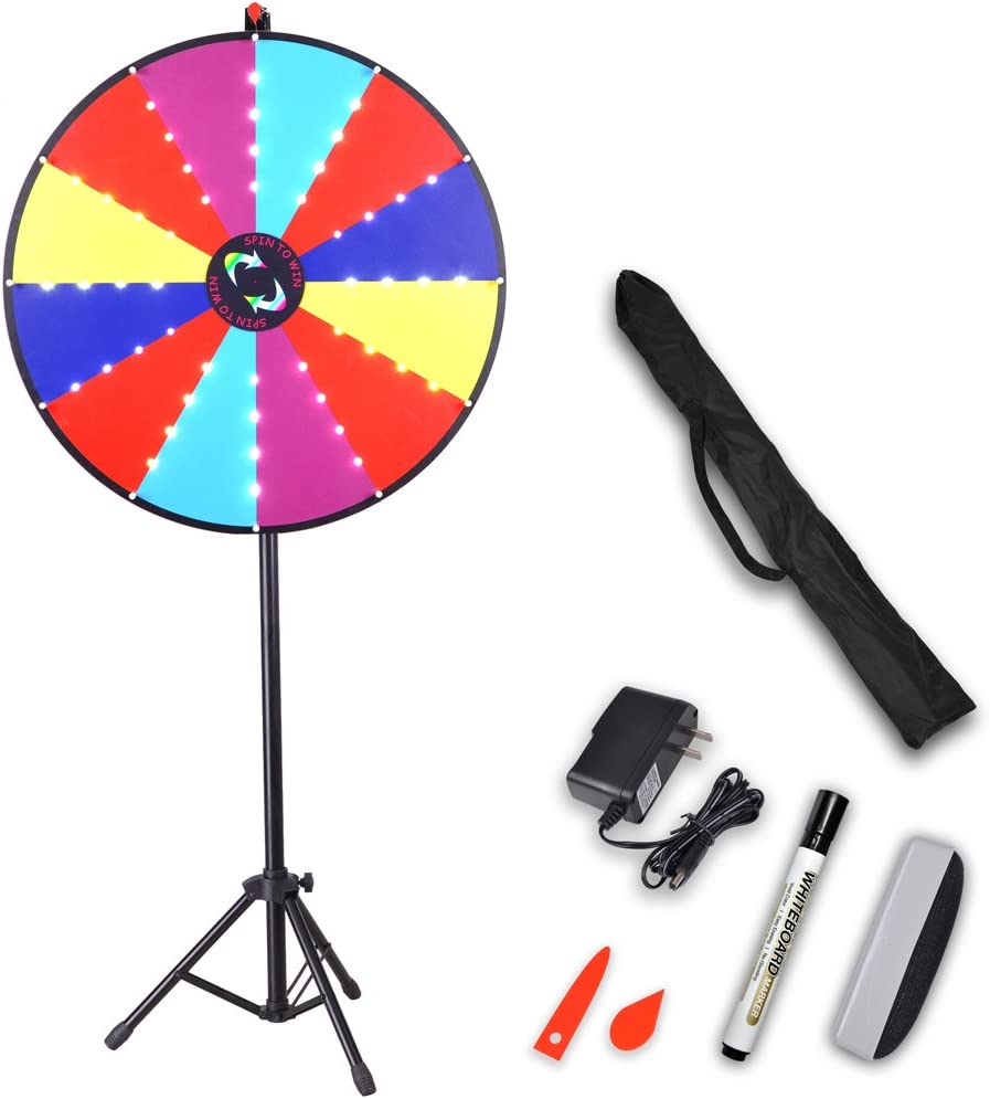 Yescom 30 LED Light Prize Wheel 12 Slots Floor Tripod Stand Dry ...