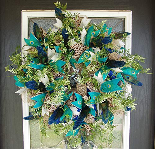 Peacock Feather & Animal Print Deco Mesh Front Door Wreath, Welcome Porch Patio Decor, Wall Fireplace Mantel, Unique Gift Idea, Bright Colors, Everyday Wreath