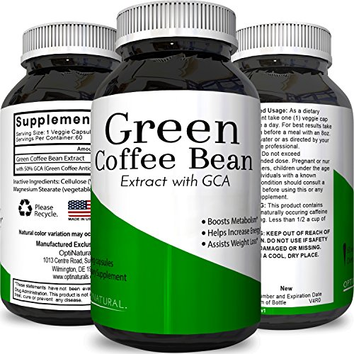 100 % Pure Green Coffee Bean Extract with Highest Quality 800 Mg Best Formula for Weight Loss on the Market for Women and Men by Opti Natural by Opti Natural