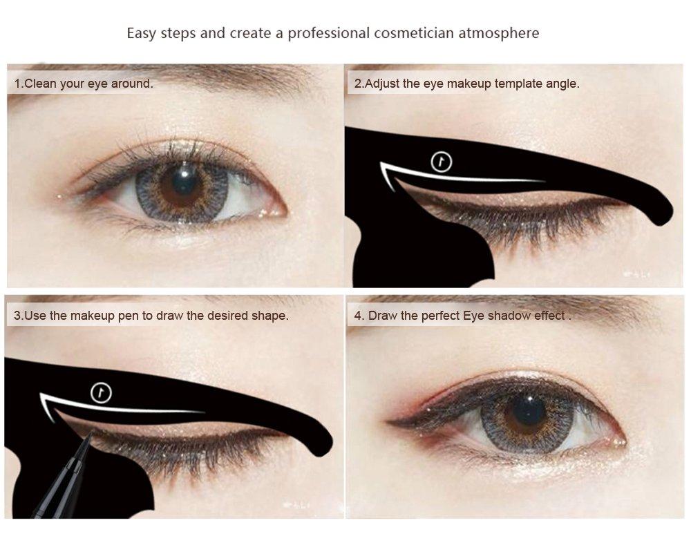 Amazon.com: LKE 2 in 1 Cat Eyeliner Stencil,Matte PVC Material ...