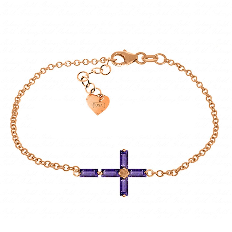 ALARRI 1.15 Carat 14K Solid Rose Gold Cross Baguette Amethyst Bracelet Size 8.5 Inch Length