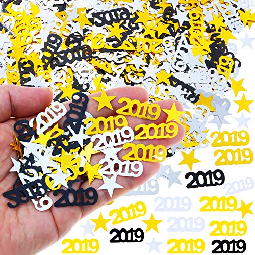 2019 Confetti - Pack of 1500, 2 Oz - 2019 Graduation Party Supplies, 2019 Graduation Decorations, Party Decorations for Birthday, Weddings. Gold Black Silver (New Year Confetti)