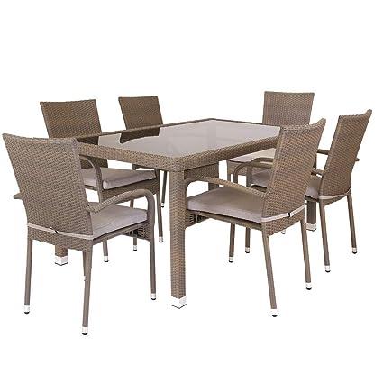 Lola Home Conjunto de Mesa y sillas para jardín marrón de rattán plástico Garden, 160x73x90 cm
