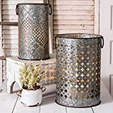 Colonial Tin Works: Set of Two Perforated Metal Candle Holders or Bins