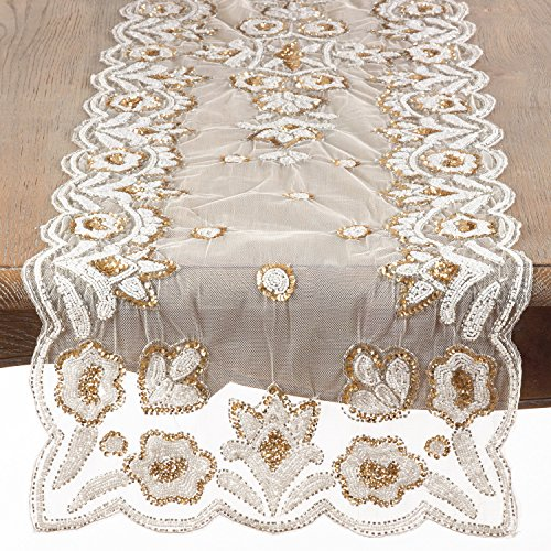 (Occasion Gallery Gold Hand Beaded Flower Design Table Runner, 16