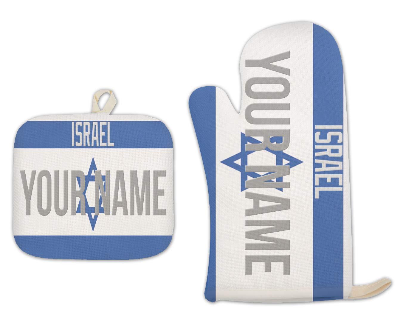 Bleu Reign BRGiftShop Personalized Custom Name License Israel Flag Country Plate Linen Oven Mitt and Potholder Set