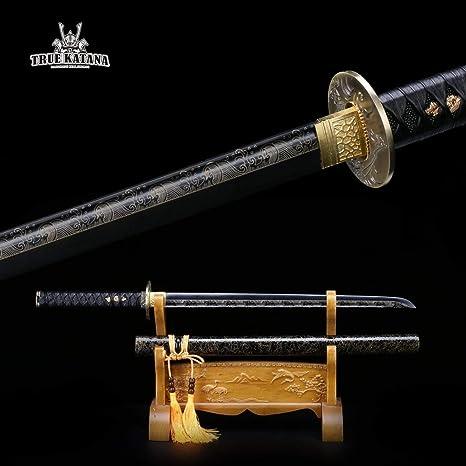 Amazon.com : TRUEKATANA Handmade Straight Black Katana Real ...