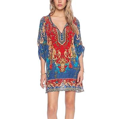 Fasker Women's Bohemian Casual Dress Loose Printed Tunic Vintage Printed Summer Dress