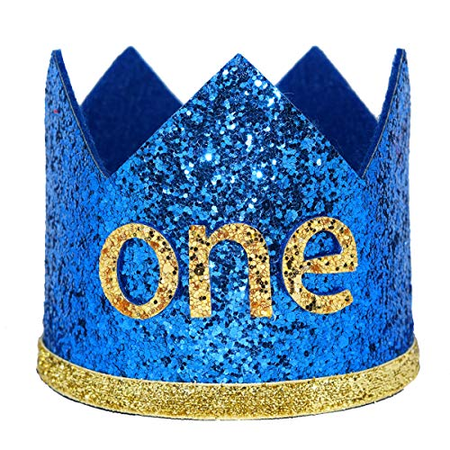 Maticr Glitter Baby Boy First Birthday Crown Number 1 Headband Little Prince Princess Cake Smash Photo Prop (Large Royal & Gold One)
