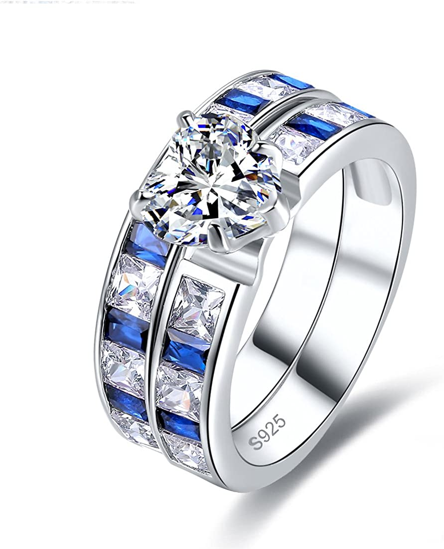 Jrose Women's Sterling Silver Heart Cut Cubic Zirconia and Created Sapphire Engagement Bridal Ring Set