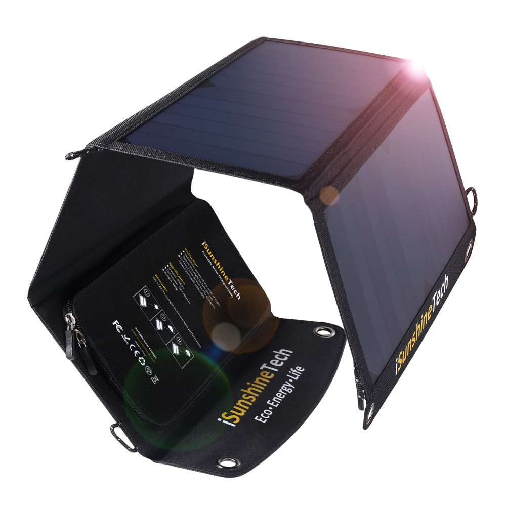 iSunshineTech 28W Foldable Solar Charger with Dual USB Port, SunPower Panels with Built-in Smart Chips, Auto-ID Tech by iSunshineTech