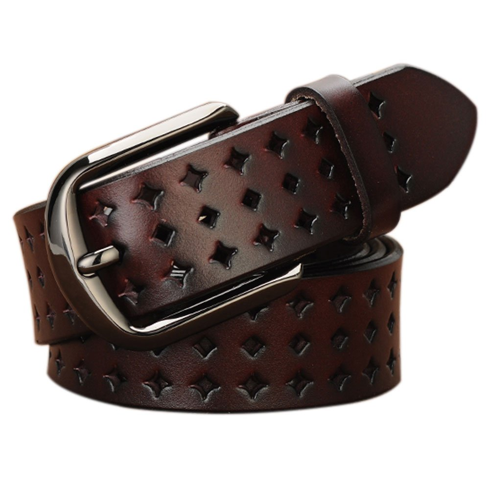 Genuine Leather Belts for Women Hollow Out Design, Vonsely Soft Leather Womens Belts with Pin Buckle, Coffee Leather Belt