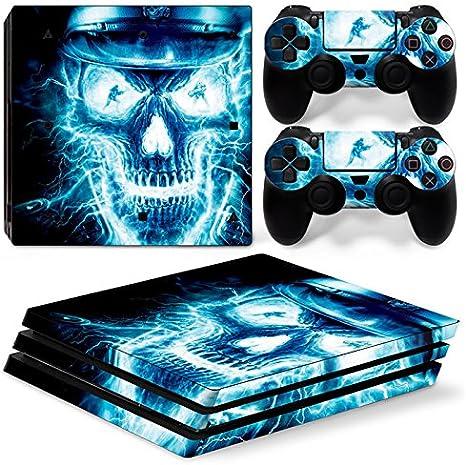 Sony PS4 Playstation 4 Pro Skin Design Foils Pegatina Set - Blue Skull 2 Motivo: Amazon.es: Videojuegos