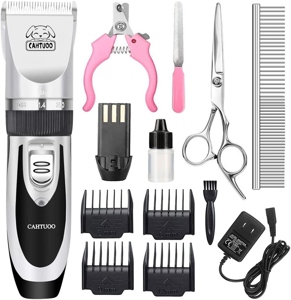 CAHTUOO Dog Grooming Clippers, Professional Pet Grooming Kit Rechargeable Pet Shaver Cordless Silent Dog Hair Trimmer with 4 Comb Attachments & Extra Tools for Dogs Cats and Pets