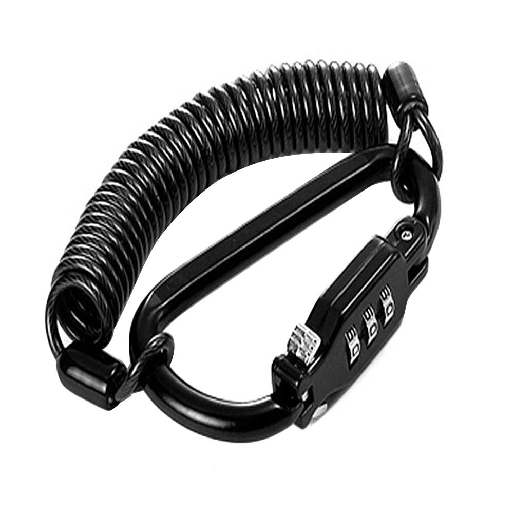 ASANPAI - Candado de Seguridad para Casco de Motocicleta, combinación de Cable de Seguridad, Mejor para Bicicleta al Aire Libre, Negro