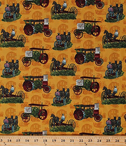 Cotton Farmall International Harvester Titan Mogul Vintage Antique Tractors Farm Vehicles Implement Equipment Horses Farmers Farming Country Harvest Scenic Cotton Fabric Print (9997/X8000-ASST1-8F5)