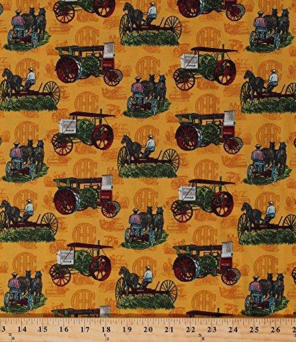 Cotton Farmall International Harvester Titan Mogul Vintage Antique Tractors Farm Vehicles Implement Equipment Horses Farmers Farming Country Harvest Scenic Cotton Fabric Print (9997/X8000-ASST1-8F5)