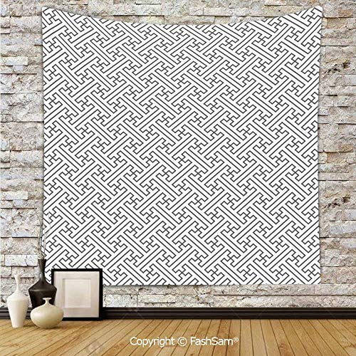 FashSam Polyester Tapestry Wall Minimalist Geometric Trippy Formles Lines Shaping Maze Abstract Graphic Art Decorative Hanging Printed Home Decor(W59xL90)]()
