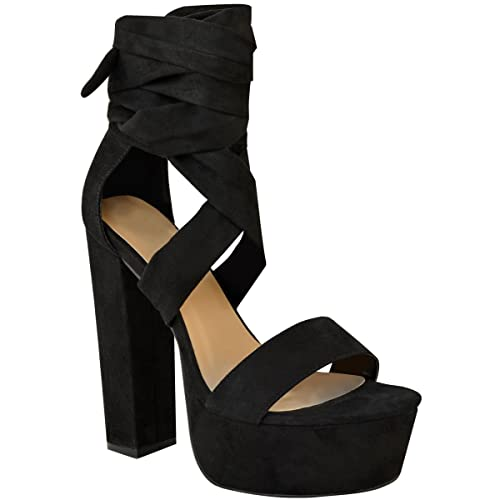 ab2930073b3 Fashion Thirsty Womens Lace Up High Block Heels Platforms Sandals Ankle Tie  Party Shoes Size