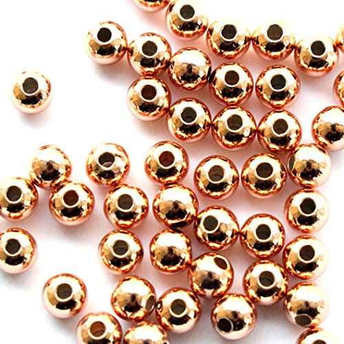 Gold Plated Silver Spacer - 50pcs Genuine 925 Sterling Seamless Silver Round Ball Beads Spacer for Jewelry Making Findings (rose gold plated 4mm)