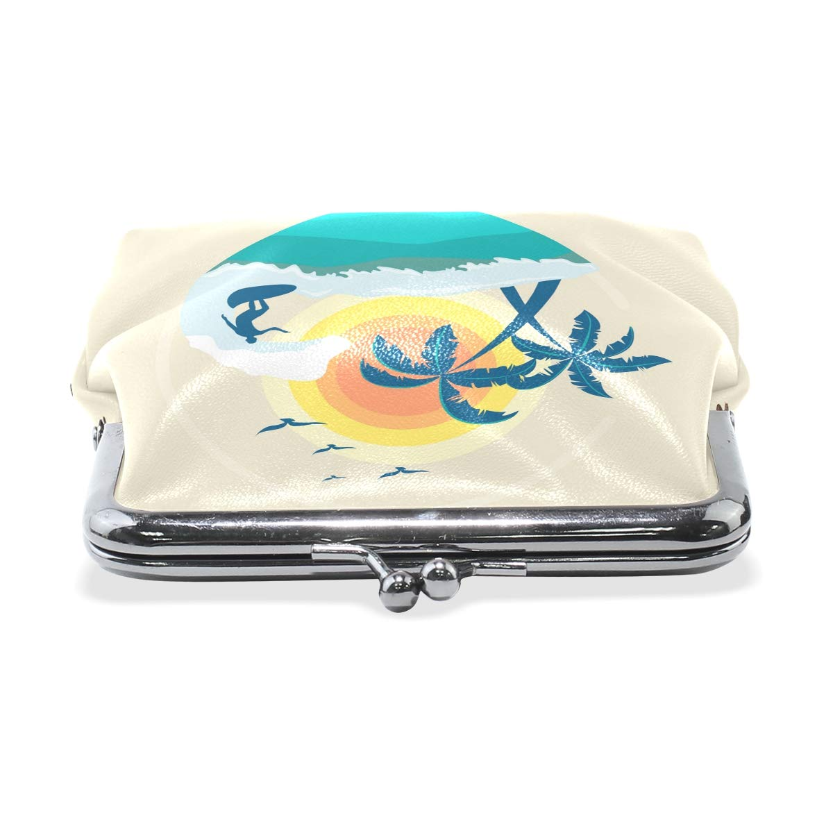 LALATOP Surf Background With Palm Trees And Sun Womens Coin Pouch Purse wallet Card Holder Clutch Handbag