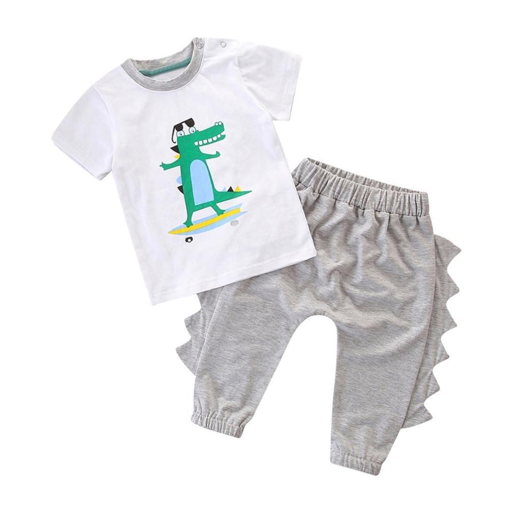 Jungen Kleidung Sunday 2 Stücke Infant Baby Jungen Kurzarm Tier Dinosaurier Print Tops + Hosen Outfits Set 004410