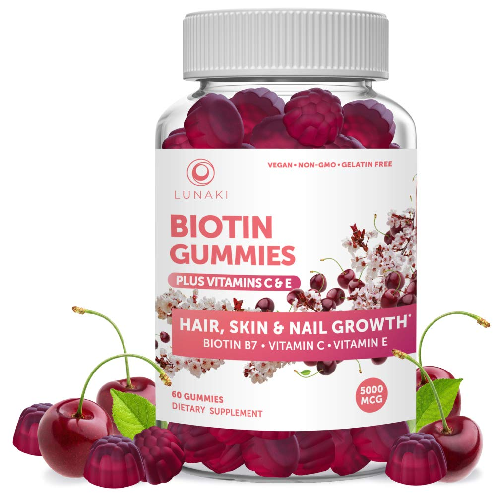 Biotin Hair Skin and Nails Gummies with Vitamin C and E - Non-GMO Vegan No Corn Syrup Gummy Promotes Natural Collagen, Keratin and Hair Growth 30 Day Supply