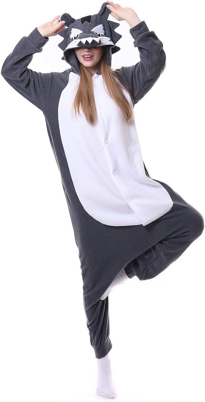 Pigiama Animali Cosplay Halloween Uomo Donna Adulti Costume Tuta Marrone