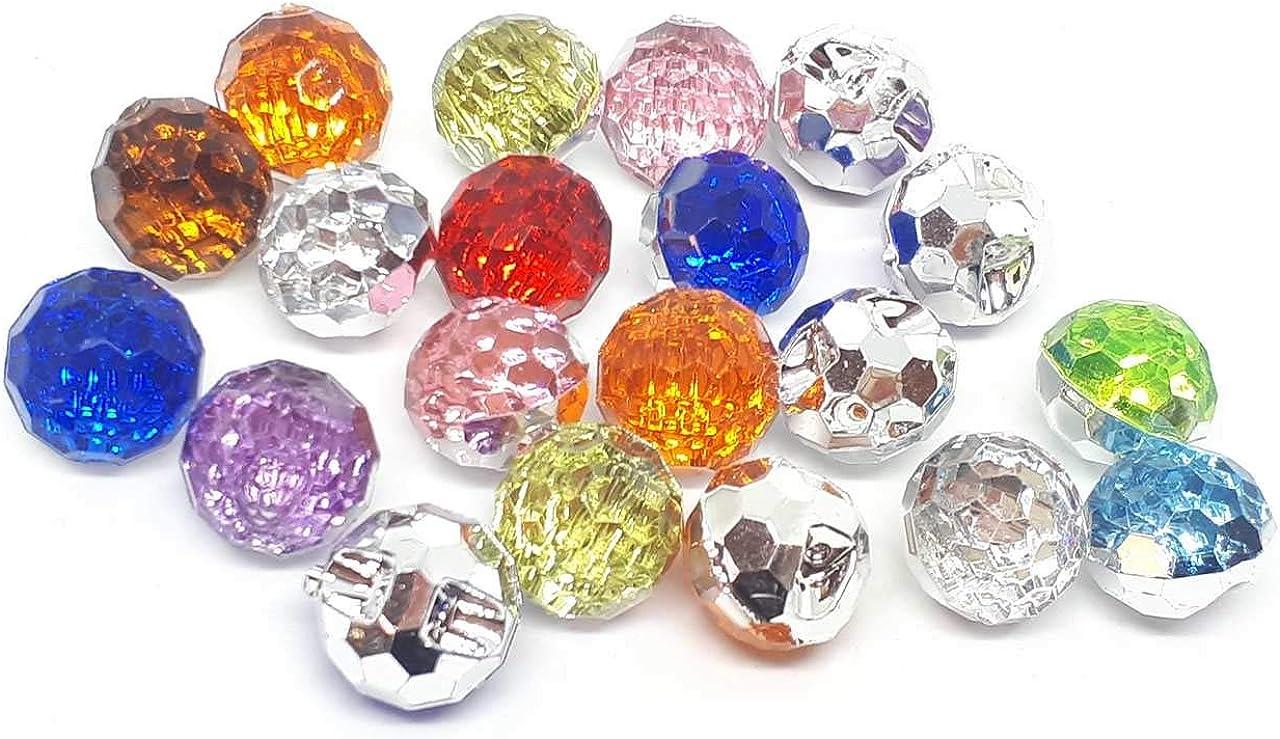 Lote de 10 botones brillantes de fantasía, con aplicaciones de estrás, 12 mm, de 2 orificios, para manualidades y costura