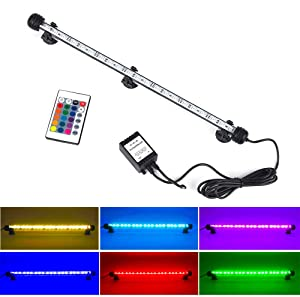 NATEEL LED Aquarium Light, Fish Tank Light Waterproof RGB Color Changing Remote Control Underwater Submersible LED Lights Strip Background Decorate Lighting