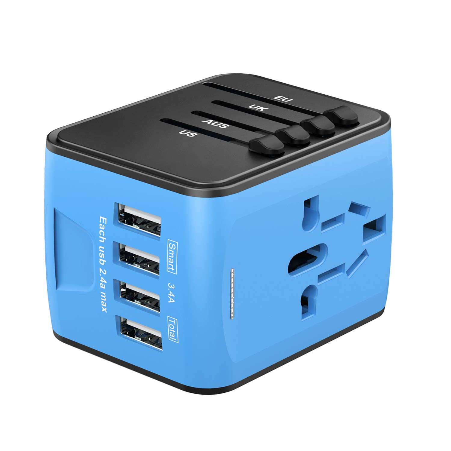 Universal Travel Adapter, Worldwide International Power Adapter with 4 USB  Ports, All in One Wall Charger AC Travel Plug Adapter Converter for UK USA
