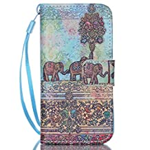 """OTTER MK for iPhone 5 5S SE Wallet Case PU Leather Elephant Wallet Case Flip Folio Kickstand Card Holder Cover with Strap Case for iPhone 5/5s/se 4"""""""